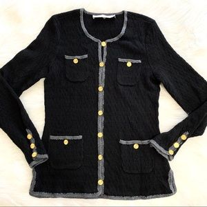 Trina Turk Black Wool Button Up Cardigan Sweater